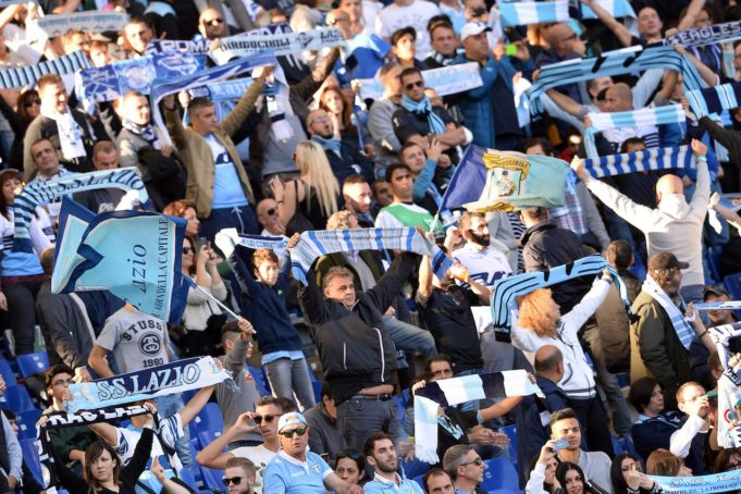 A group of Lazio fans at the stadium (Photo: Insidefoto.com)