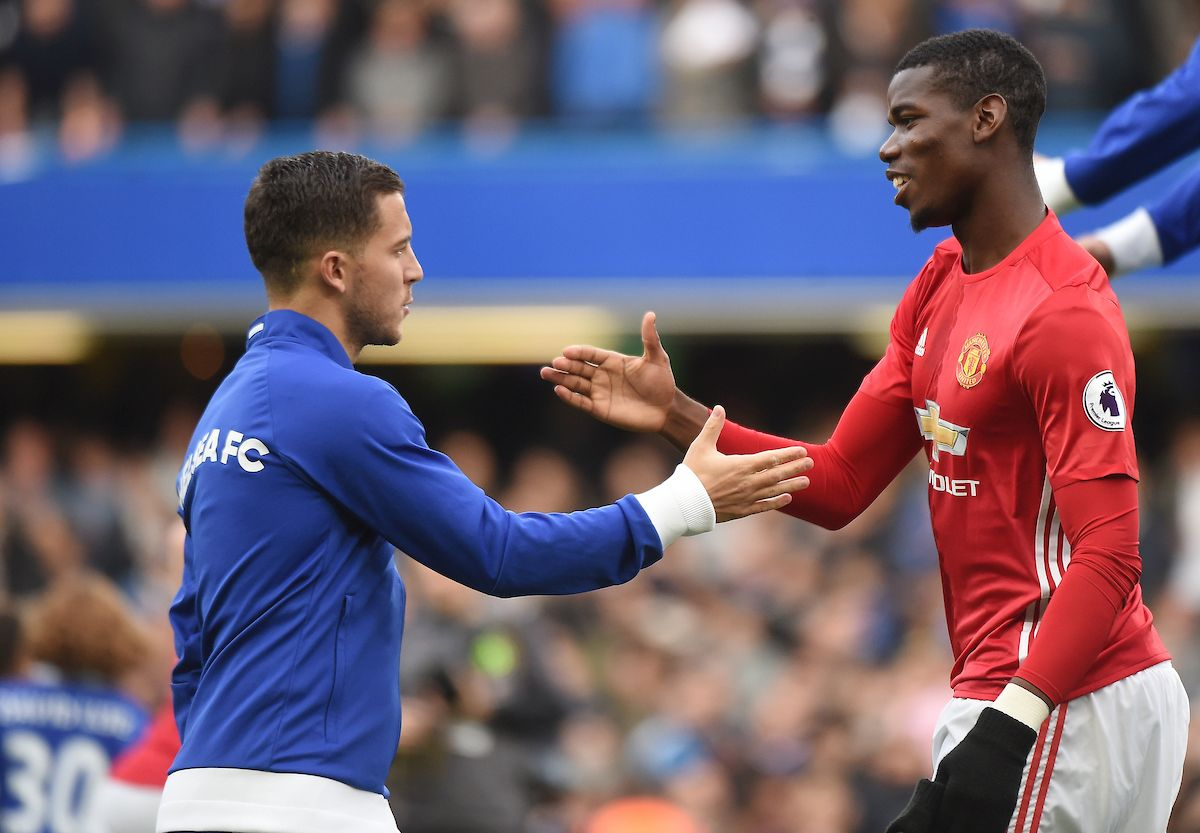 Paul Pogba of Manchester and Eden Hazard of Chelsea