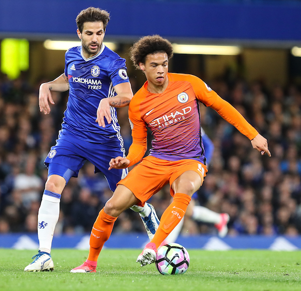 Cesc Fabregas of Chelsea and Leroy Sane of Manchester City Foto PHC Images / Insidefoto